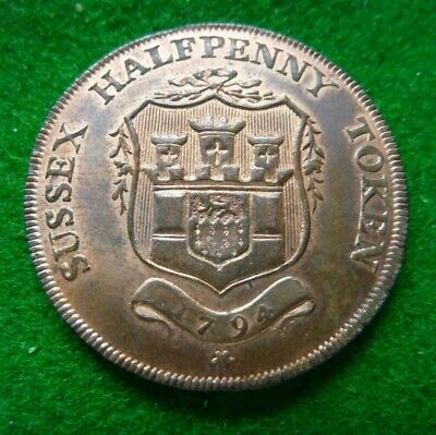 1794 Sussex Halfpenny Token - Frant Ef+ With Lustre
