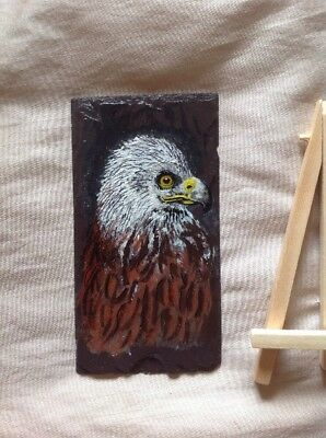 Red Kite Original Acrylic Miniature Painting On Welsh Slate On Easel