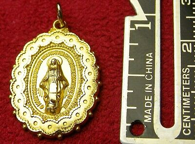 Unique Vintage CREED Sterling Silver Gold fill Catholic Miraculous Medal Pendant