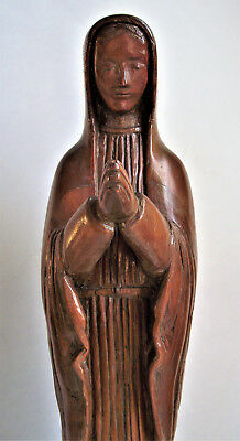 ANTIQUE Hand Carved MARY MADONNA PRAYING WOOD STATUE Figure Figurine Sculpture