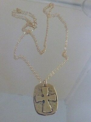 Hand forged Byzantine Cross with 14 kt Gold Chain ~~~