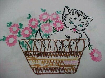 """Vintage Antique Hand Crocheted Embroidered Kitty CAT Dresser Scarf Runner 14x34"""""""