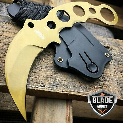 TACTICAL GOLD COMBAT KARAMBIT NECK KNIFE Survival Hunting BOWIE Fixed Blade -T