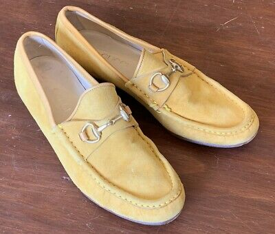 Women's Vintage GOLD 70's Suede GUCCI Horsebit Loafers, size 6 B