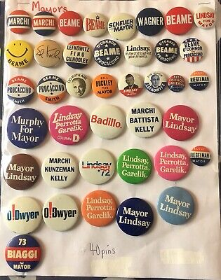 Lot of 40 (New York) Mayoral Campaign Pins