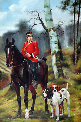 Fox Hunt English Rider Hounds Horse Classic Gallery Wrapped 24X36 Oil Painting