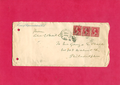 Congressman Charles O'Neil Signed 1892 Cover with Strip of 3 Scott # 220 2c G.W.