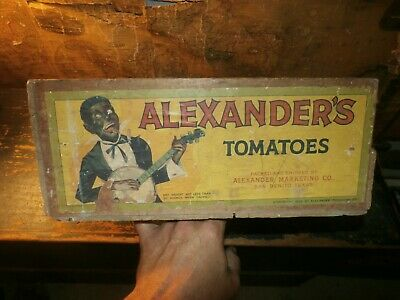 Vintage Antique Alexander's Tomatoes Wooden Shipping Box Crate Black Americana