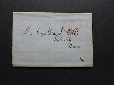 1846 Stampless Ship Letter Ellis Waterville Me ! Ca Gold Rush Miner+Chief Police