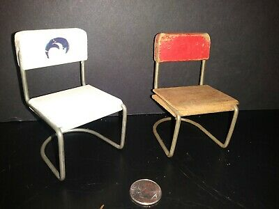 Dollhouse Furniture Mid Century Wood And Metal Chairs 50's style HTF