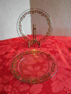 2 Glass Luncheon Plates Holly & Red Ribbon ACO3 by Arcoroc