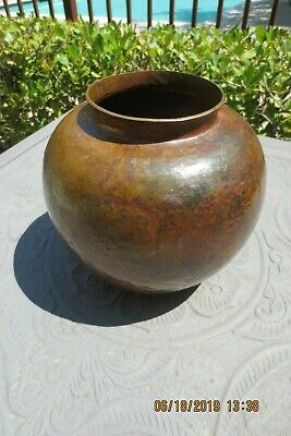 Large Copper Bowl Hand Hammered W/Nice Patina Unmarked Arts & Crafts?