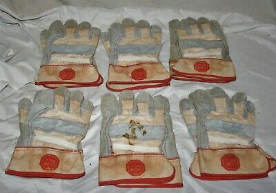 Six Pair Of New Old Stock Leather Work Gloves Size Large