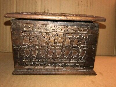 Antique Hand Carved Wooden Playing Card Box Holder