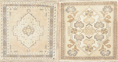 Pack Of 2 Square MUTED Oushak Turkish Oriental Wool Kitchen Rugs Hand-made 2'x2'