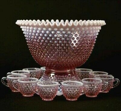 Punch Set, Fenton Rose Magnolia Opalescent Hobnail 12 cups punch bowl and base