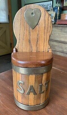 Best Antique 19th Century Banded Oak Wood & Brass Hanging Salt Box