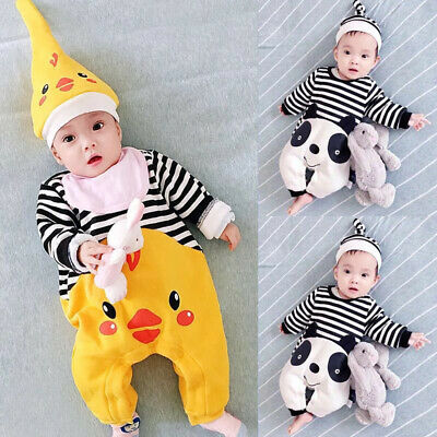 Newborn Baby Boys Girls Cartoon Stripes Hoodies Romper Jumpsuit Clothes Outfits