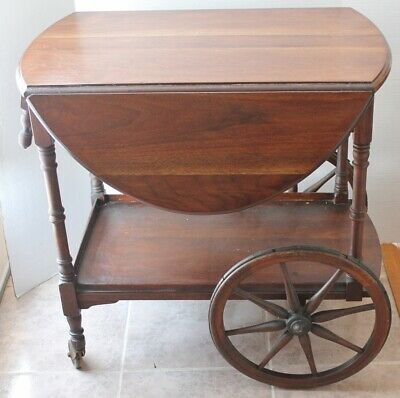 VINTAGE TEACART -Wood- Drop Leaf Top with Pullout Drawer.