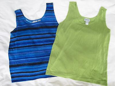 Lot of 2 CHICO'S Travelers TANK TOPS Sleeveless GREEN / BLUE 2 Large 12 MINT