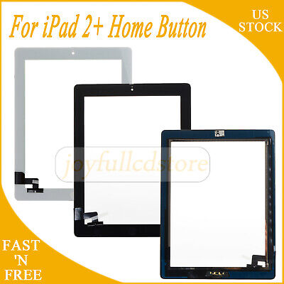 Touch Screen Glass Replacement For iPad 2 Digitizer + Home Button Black & White