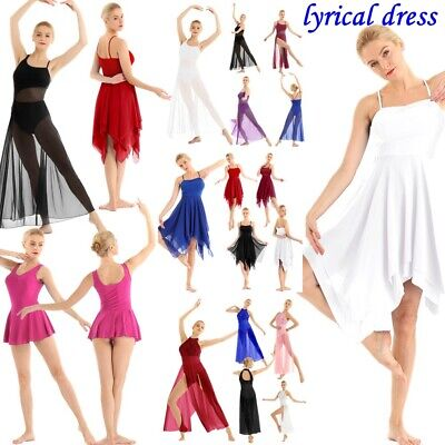 Women's Lyrical Contemporary Ballroom Ballet Leotard Dance Dress Chiffon Skirt