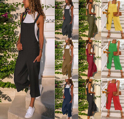 Women Oversized Loose Dungaree Cotton Linen Jumpsuit Playsuit Overalls Trousers