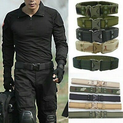 Men's Military Tactical Belt Army Combat Waistband Quick-Release Canvas Outdoor