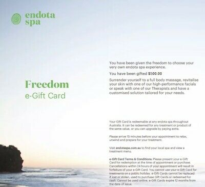 NEW $500 Endota Spa Freedom Gift Card Voucher - Instant Delivery Via Email