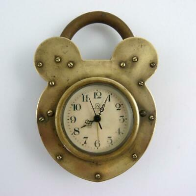 19th CENTURY CHINESE BRASS CLOCK IN THE FORM OF A PADLOCK BY YUCHANG