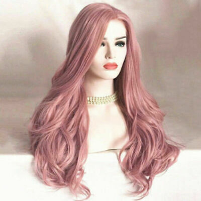 TOP Women Ladies Synthetic Hair Pink Wig Long Wavy Full Wigs Cosplay Wig