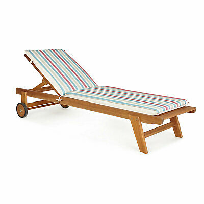 Isla Striped Multicolour Sunlounger cushion DOUBLE SIDED QUALITY THICK  LOUNGER