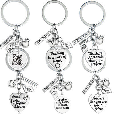 Apple Keyring Gifts For Teacher Thank you Gift Keychain Key Rings Charms Pendant