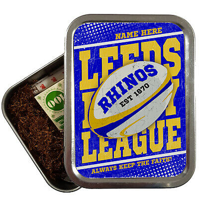 Personalised LEEDS Tobacco Rugby League Tin Retro 2oz Baccy Dad Gift RP08