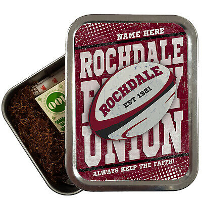 Personalised ROCHDALE Tobacco Rugby League Tin Retro 2oz Baccy Dad Gift RP12