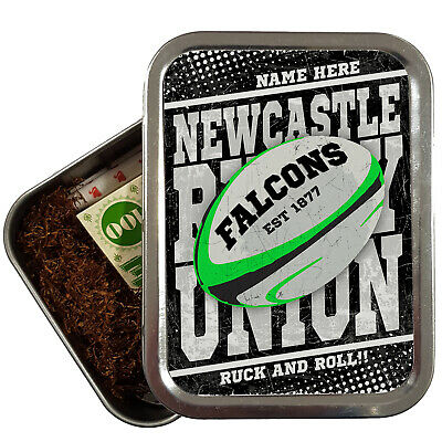 Personalised NEWCASTLE Tobacco Rugby Union Tin Retro 2oz Baccy Dad Gift RP27