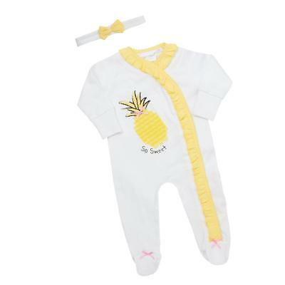 Baby Girls Sleepsuit Fruity Pineapple Babygrow and Headband Set