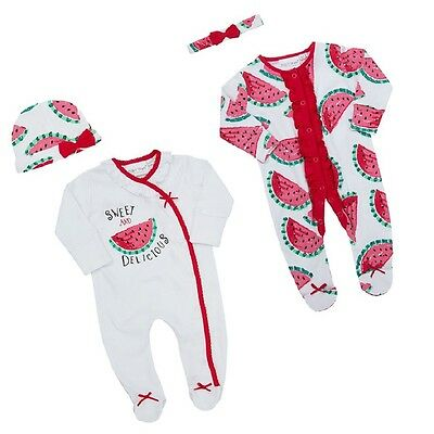 Babies Watermelon Sleepsuit / Babygro with Hat or Headband ~ Newborn - 9 Months