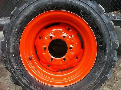 1)  27/8.50x15 KUBOTA L3400 Loader Skidsteer Tubeless Rim Guard Tires w/Wheels