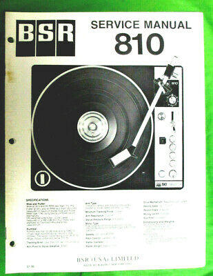 Service Manual For Bsr Turntable Model 810  Original Not A Copy 16 Pages