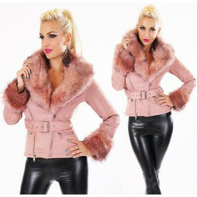 Classy Ladies Winter Jacket Suede Look with Faux fur Dusky Pink #J930