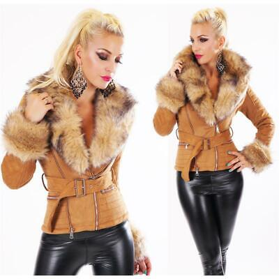 Classy Ladies Winter Jacket Suede Look with Faux fur Camel #J932