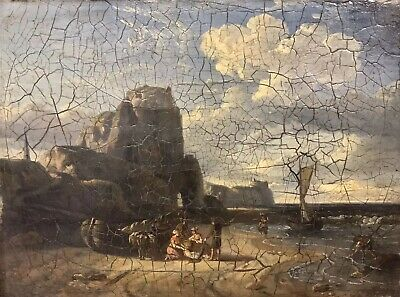EARLY 19th CENTURY FRENCH MARINE OIL PAINTING - FISHERFOLK ON BEACH -ROCKY COAST