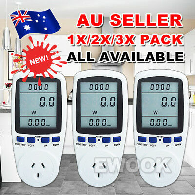 240V Power Meter Monitor Energy Consumption Watt Electricity Usage Tester