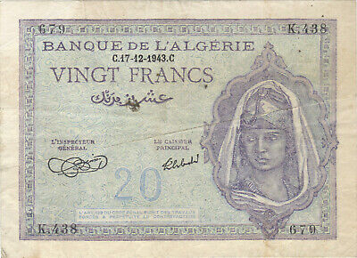 1943 20 Francs Tunisia Currency Banknote Note Money Bank Bill Cash Africa Wwii