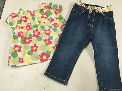 Gymboree   Floral Swing Top Shirt & Denim Jeans  Girls  Sz  18  24  Ms