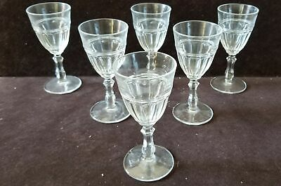 6 Vintage Clear Glass Cordial Stemware Panel Pattern