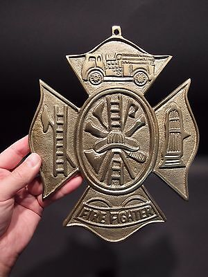 Antique Vintage Style Brass Fire Fighter Plaque Fire Mark Sign