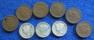 1917 - 1917 D - 1917 S Mercury Dimes + 6 Indian Cents  - Free U S Shipping