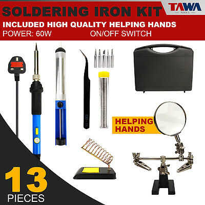 13 IN 1 Soldering Iron Kit Set 60W Electronics Welding With Help Hands
